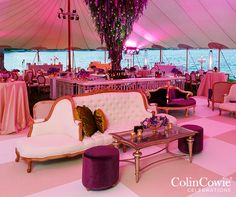 Purple Flowers, Garden Party, Outdoor Tents, Wedding Decoration || Colin Cowie Weddings