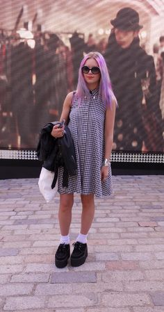 Lilac & pink dip-dye hair & creepers at #LFW #hair #streetstyle