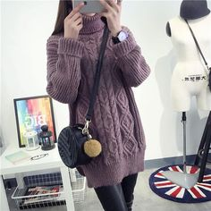 Women Spring Autumn Thick Long Style Thick Thread Knitted Soft Cotton Loose Turtleneck Pullover Jacquard Weave Plait Sweater  #love #instastyle #pretty #cool #sweet #style #dress #fashionista #cute #iwant