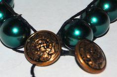 Leather bracelet emerald green beads brass buttons wrap 15.00 on Artfire  http://www.artfire.com/ext/shop/product_view/4895158
