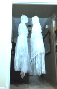 Tape and trash bag ghost tutorial. Good tutorial for making a trash bag dress…