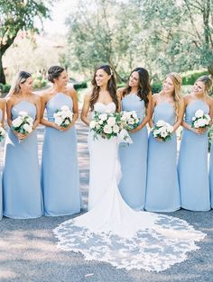 Blue bridesmaid dresses - Light blue bridesmaid dresses with white flowers Rancho Bernardo Inn Compass Floral Wedding Florist in San Diego and Southern California Dear Lovers Photography weddingflorists Light Blue Bridesmaid Dresses, Wedding Bridesmaid Dresses, Bride Maid Dresses, Taupe Bridesmaid, Light Blue Wedding Dress, Navy Blue Bridesmaids, Light Blue Dresses, Blue Wedding Flowers, Floral Wedding