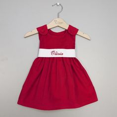 Princess LinensCorduroy Sash Dress | Monogramed Baby Outfits for Christmas at SugarBabies!