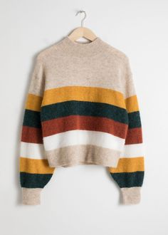 Striped Wool Blend Sweater Mock neck wool blend sweater with a multicoloured st. - Striped Wool Blend Sweater Mock neck wool blend sweater with a multicoloured stripe Dropped shoulder seams Length of sweater: / (size Model wears: Source by rdandana - Beige Pullover, Pullover Outfit, Beige Sweater, Crewneck Sweater, Gray Cardigan, Yellow Sweater, Sweater Outfits, Fall Outfits, Cute Outfits