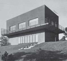 House for two young men, Otto Eisler, Brno, Czechoslovakia, Residential Architecture, Amazing Architecture, Architecture Design, School Architecture, International Style Architecture, Bauhaus Style, Art Deco, Constructivism, Interesting Buildings