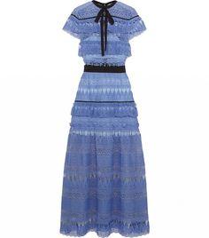 Self-Portrait blue lace dress.