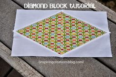 Inspiring Creations: Diamond Quilt Block Tutorial --maybe use this for my I Spy quilt I want to make
