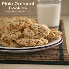 Plain Oatmeal Cookies, Prep Time: 9 Minutes, Serves: 5 dozen, Directions: 1. Cream butter and sugars. Add eggs, vanilla, and water, and mix well.      2. Add salt, soda, and cinnamon and mix well.      3. Add flour, and mix just until combined. Add oats and mix just until combined.      4. Drop spoonfuls onto a baking sheet, and bake at 350F for 8-11 minutes.