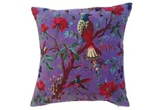 Floral  Velvet  Pillow w/ Birds Custom pillow made with a floral velvet featuring birds on the branches of a berry tree.