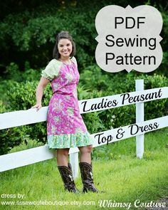 Ladies Peasant Top/Dress PDF Sewing Pattern  These peasant tops and dresses are just perfect to wear for any casual event or during the day. Although the instructions don't say to use knit fabric, they would work really well made from knits. As long as you have experience with knit [...]