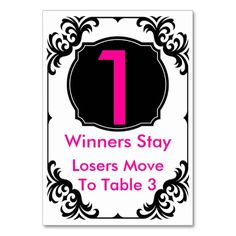 Bunco Table Card - #1 - Help your guests transition from table to table with these classy Bunco table cards. www.zazzle.com/artinspired*