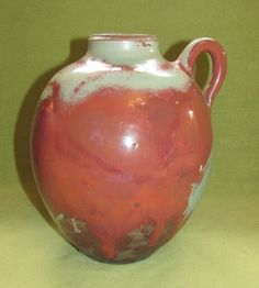 Art Deco Keramik Vase/Krug Mobach Utrecht; Türkis-Rot | eBay