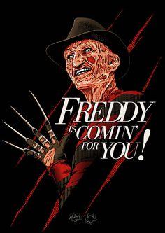 "Horror Movie Art : ""A Nightmare On Elm Street"" ""Freddy Krueger"" by MateusCosme @ deviantart Horror Posters, Horror Icons, Horror Films, Arte Horror, Horror Art, Kitsch, Badass Movie, Street Tattoo, Horror Movie Characters"