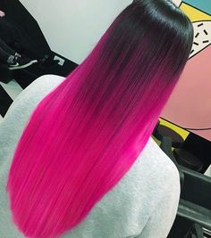 36 Pretty Pink Ombre Hair to Try Immediately You will definitely need some pink ombre hair ideas, if you are a cheerful lady who wants to bring some more brightness to her life. Bright Pink Hair, Pink Ombre Hair, Vivid Hair Color, Hot Pink Hair, Cute Hair Colors, Beautiful Hair Color, Hair Color Pink, Hair Dye Colors, Cool Hair Color