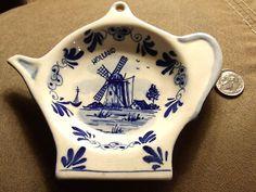 Antique Handpainted Delft Blue Holland Tea Bag Holder | eBay