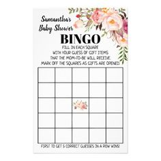Baby Shower Bingo pink bilingual game card Baby Bingo, Baby Shower Bingo, Baby Shower Parties, Baby Shower Invitations, Shower Party, Pregnancy Announcement Cards, Custom Flyers, Baby Shower Flowers