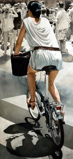 Marc Figueras (b. 1981), oil on canvas {figurative realism art female riding bicycle woman back painting #loveart} Navigation!! marcfigueras.blogspot.com