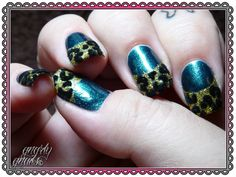 Teal Tuesdays - Funky French.  http://gnarlygnails.blogspot.com/