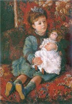 Monet Claude - portrait de Germaine Hoschede avec sa poupee