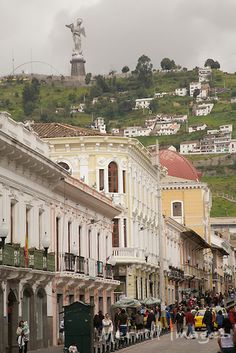 Statue of the Virgin of Quito (30m tall) stands above the city on El Panecillo hill, Quito, Ecuador