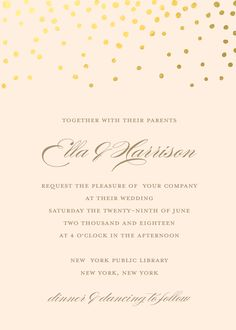 Personalized Stationery - Gold Dots Invitation