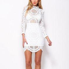 crochet lace mini dress - white - shophearts - 1