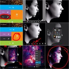 1 open picsart en ga naar draw 2 maak de achtergrond zwart  3 nu heb je de foto met alleen het gezicht. sla op de foto op 4 ga nu na photo en selecteer de foto met alleen het gezicht 5 voeg nu een 2e foto toe 6 kies een galaxy print foto 7 vergroot de galaxy foto zodat die over de oude foto zit 8. kies nu een modus die het beste erbij past (overlay, screen, darken enz ) 9. je bent klaar!