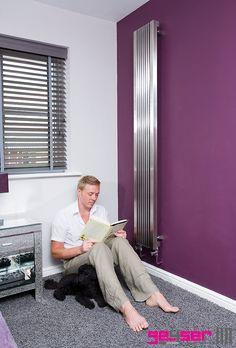 """Geyser """"STRATI"""" Brushed Stainless Designer Radiator. Bedroom. Aubergine. #brushedstainlessradiator #stainlesssteelradiator #designerradiator"""