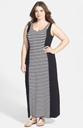Vestido maxi Vince Camuto 'Tropic Stripe' (Plus Size)
