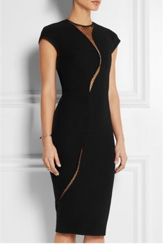 VICTORIA BECKHAM Silk and wool-blend dress is cut for a close fit and has curved polka-dot tulle inserts to flatter your silhouette.  Front close-up.  Retail $2,995.00