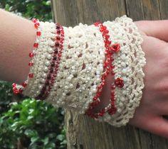 crochet beaded cuff bracelet beaded bracelet by MySecretHistory