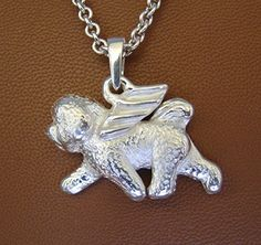 Large Sterling Silver Bichon Frise Angel Pendant ** You can find out more details at the link of the image.