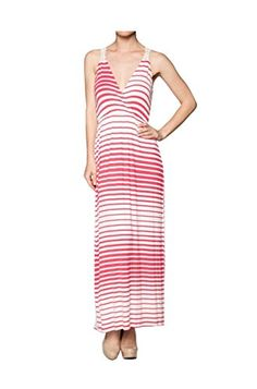 2LUV Womens Sleeveless Striped Maxi Dress W Crochet Back Coral  White L L24470DH ** Check out this great product.