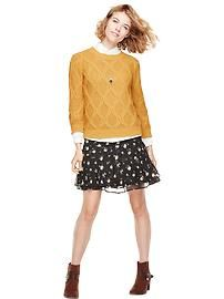 suede short booties, print chiffon skirt, over sized long sleeve tshirt with cotton cable sweater