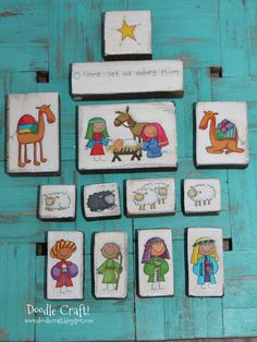 Doodlecraft: Cute Christmas Nativity Sets and Stickers!--first nativity set? Christmas Nativity Set, Nativity Crafts, Christmas Wood, Christmas Projects, Holiday Crafts, Christmas Holidays, Nativity Sets, Easy Christmas Decorations, Creative Crafts
