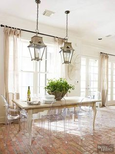 Home Interior, Interior Design, Bathroom Interior, Lucite Chairs, Clear Chairs, Ghost Chairs, Brick Flooring, Western Furniture, Elegant Dining
