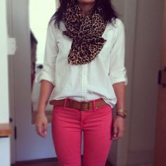 Pink, white, and leopard for casual Friday