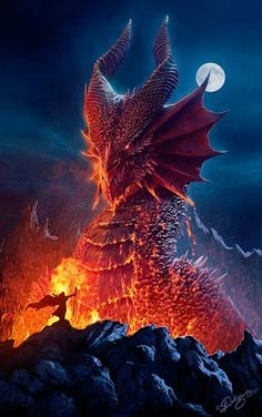 This is Cancns meaning (born from fire) HE is the king fo the dragons in the land of dragons! You can love a dragon; or you can slay a dragon; but you can never own a dragon, because a dragon owns you. Fantasy Kunst, Fantasy Art, Anime Fantasy, Dragon Medieval, Cool Dragons, Imagine Dragons, Dragon's Lair, Dragon Artwork, Dragon Pictures