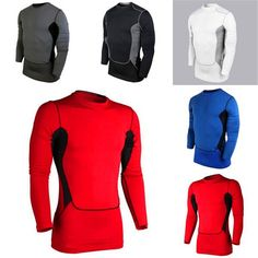 Cozy Men's Compression Base Layer Sports Wear Long Sleeve Blouse Athletic Tops Gear Jersey W01
