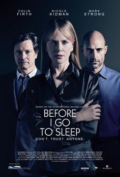 Before I Go to Sleep Movie Poster, based on the book by S.J. Watson