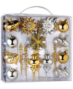 Kurt Adler 36pc Gold and Silver Mini Shatterproof Ornament Set