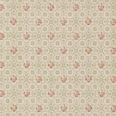 Pink and Green Floral Vintage Wallpaper | 1950s Vintage Antique Wallpaper