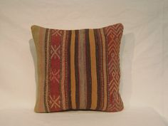 "Handmade Kilim Bedroom Decor Pillow 16x16"" Turkish Kilim Rug Carpet Pillow Handmade Old Vintage Bohemian Home Decor"