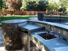 Outdoor concrete barbeque countertop