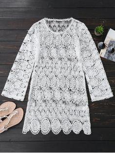 ec263c7dc4 Sheer Lace Long Sleeve Beach Dress Bathing Suit Cover Up, Bathing Suits,  Lace Dress