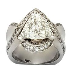 3.0 Carat Trillion Diamond Gold Ring with Diamond Accent | From a unique collection of vintage wedding rings at https://www.1stdibs.com/jewelry/rings/wedding-rings/