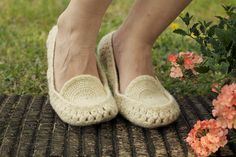 Crocheted home slippers