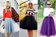 """""""Women's Fashion and Style. Tulle (pronounced """"tool"""") is a very lightweight, sheer woven mesh fabric, generally nylon or polyester. It is used in a single la. Indian Fashion, Retro Fashion, Womens Fashion, Skirt Outfits, Fall Outfits, Fashion Blogger Style, Fashion Bloggers, Fashion Trends, 2014 Trends"""