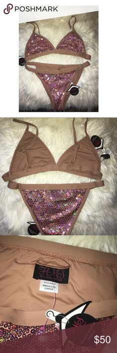 Sequin Bikini ✨ BRAND NEW🔥 Sequin bikini with adjustable bra straps. Brand new with tags attached. This is a set with top & bottom included Hot Miami Styles Swim Bikinis