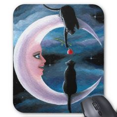 Cat 581 black Cats on Moon Mouse Pad
